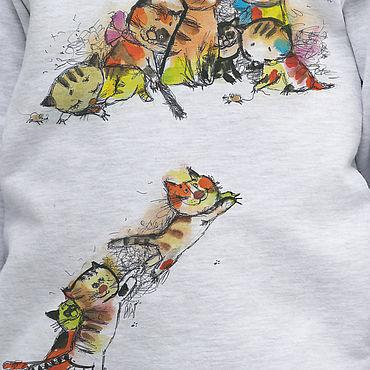 """Одежда ручной работы. Ярмарка Мастеров - ручная работа Свитшот для девочки с акварельным рисунком """"Веселые котята"""". Handmade."""