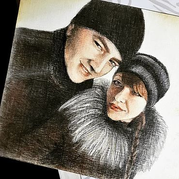 Картины и панно ручной работы. Ярмарка Мастеров - ручная работа Портрет пары по фото А5. Handmade.