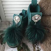 Обувь ручной работы. Ярмарка Мастеров - ручная работа Дизайнерские валенки «Зеленые». Handmade.