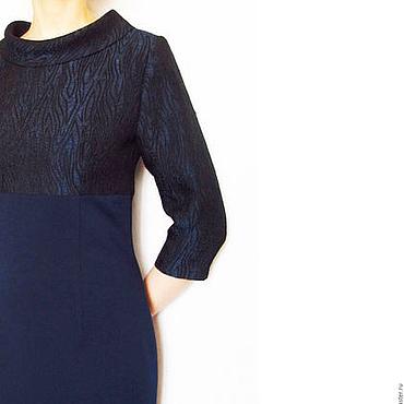 Одежда ручной работы. Ярмарка Мастеров - ручная работа Платье-футляр синее платье повседневное платье офисное. Handmade.