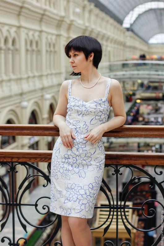 Платья ручной работы. Ярмарка Мастеров - ручная работа. Купить Платье-сарафан голубое. Handmade. Белый, платье-сарафан