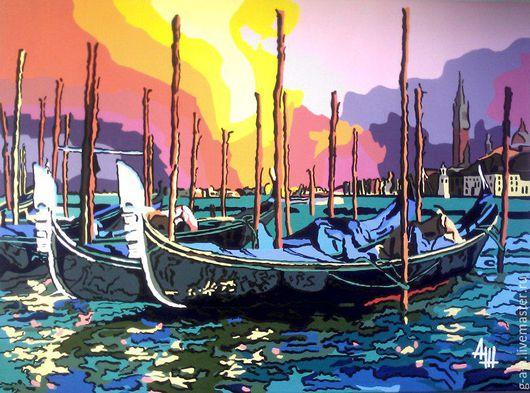 """Пейзаж ручной работы. Ярмарка Мастеров - ручная работа. Купить """"Венеция"""". Handmade. Морская волна, венеция, темпера, холст на картоне"""