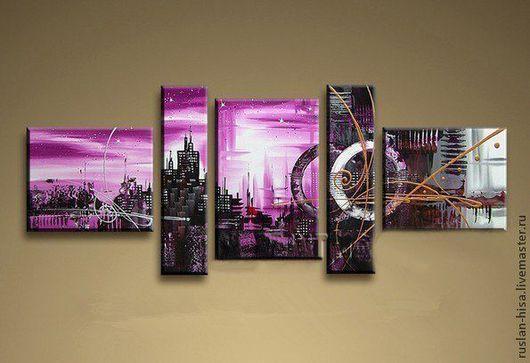 Пейзаж ручной работы. Ярмарка Мастеров - ручная работа. Купить Фиолетовый город. Handmade. Брусничный, картина в подарок, декор для интерьера