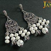 Украшения handmade. Livemaster - original item Silver earrings with snow quartz. Handmade.
