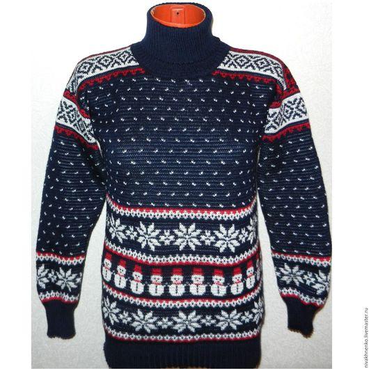 Кофты и свитера ручной работы. Ярмарка Мастеров - ручная работа. Купить Вязаный свитер  Снеговик с норвежским орнаментом. Handmade.