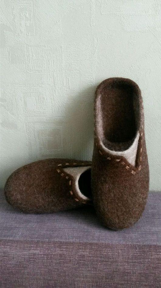 Обувь ручной работы. Ярмарка Мастеров - ручная работа. Купить Мужские шлепки. Handmade. Мужские тапочки, Шерсть натуральная