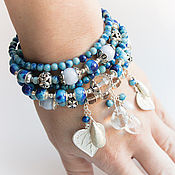 Украшения handmade. Livemaster - original item Silver bracelet Sapphirine rhinestone Jadeite Topaz. Handmade.