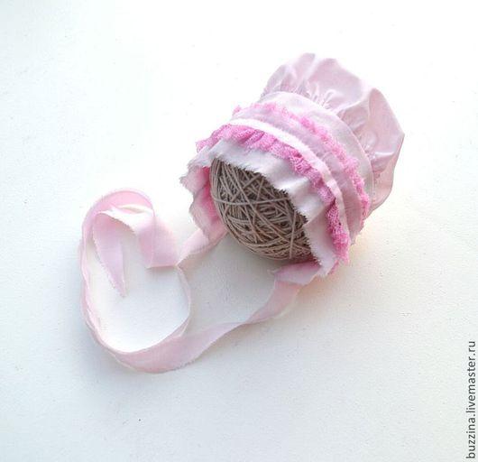 Для новорожденных, ручной работы. Ярмарка Мастеров - ручная работа. Купить Чепчик для новорожденной из ткани, реквизит для фотосессии малышей. Handmade.