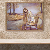 Картины и панно handmade. Livemaster - original item Have a suitcase - ready to travel pastel Painting (girl). Handmade.