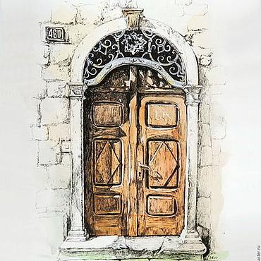 Картины и панно ручной работы. Ярмарка Мастеров - ручная работа графика Дверь. Прчань, полдень. Окна и двери Черногории - картина. Handmade.