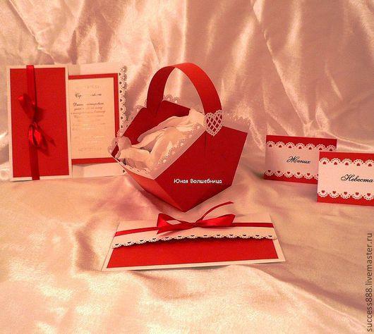 """Свадебные аксессуары ручной работы. Ярмарка Мастеров - ручная работа. Купить Корзиночка для лепестков роз """"Красное и белое"""" - оригинальная упаковка. Handmade."""
