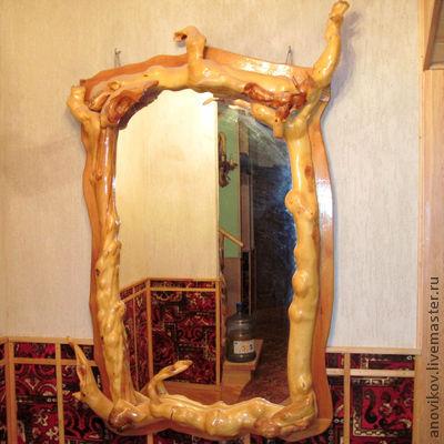 Зеркала ручной работы. Ярмарка Мастеров - ручная работа. Купить Зеркало. Handmade. Зеркало, эксклюзивная работа, желтый, рама из сосны
