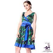"""Одежда ручной работы. Ярмарка Мастеров - ручная работа Шелковое платье """"Зеленые перья павлина с синей полосой"""" пояс в комплек. Handmade."""