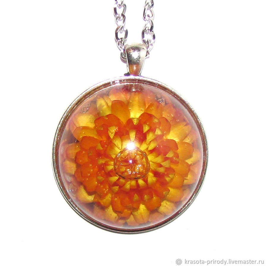 Bright pendant large orange flower 4 cm, Pendant, Moscow,  Фото №1