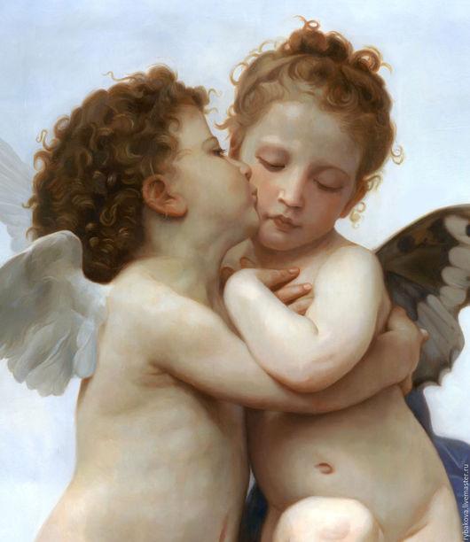 Фрагмент картины маслом с Амуром и Психеей.