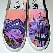 Обувь ручной работы. Ярмарка Мастеров - ручная работа Слипоны с росписью Венеция. Handmade.
