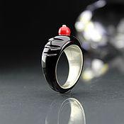 Украшения handmade. Livemaster - original item One-piece black onyx ring with coral bead. Handmade.