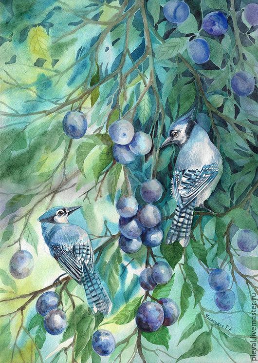 Натюрморт ручной работы. Ярмарка Мастеров - ручная работа. Купить Картина акварелью с птицами В тени слив. Handmade. Синий