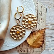 Украшения handmade. Livemaster - original item Earrings with amber made of ceramic. Handmade.
