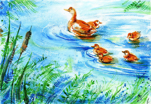 """Животные ручной работы. Ярмарка Мастеров - ручная работа. Купить Картина """"На пруду"""". Handmade. Весна, анималистика, утка, утята"""