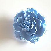 Украшения ручной работы. Ярмарка Мастеров - ручная работа Брошь цветок голубой пион из полимерной глины. Handmade.