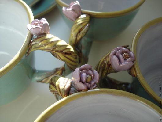 """Сервизы, чайные пары ручной работы. Ярмарка Мастеров - ручная работа. Купить Чайный сервиз """"Лазурный"""". Handmade. Бирюзовый, Керамика"""