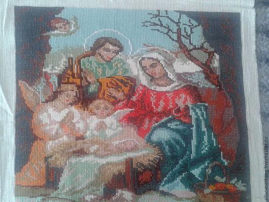 Иконы ручной работы. Ярмарка Мастеров - ручная работа. Купить Рождение Иисуса. Handmade. Иисус Христос, икона, Вышивка крестом