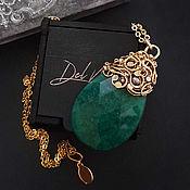 Украшения handmade. Livemaster - original item Large pendant on a chain with green agate stone