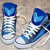Обувь ручной работы handmade. Livemaster - original item Sphynx cat Blue SNEAKERS handmade CUSTOM SNEAKERS. Handmade.