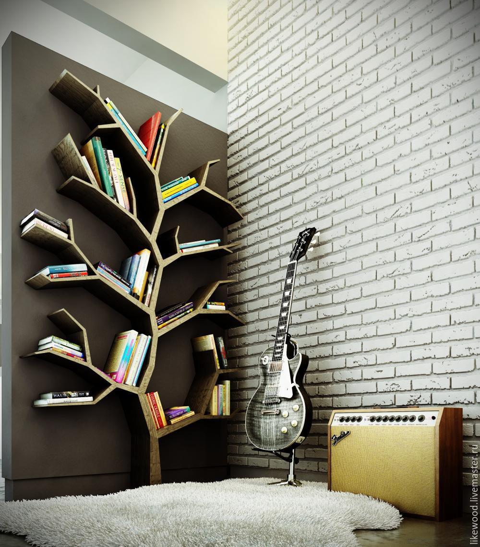 Купить Стеллаж-дерево - мебель ручной работы, креативная полка, креативный стеллаж, необычный стеллаж