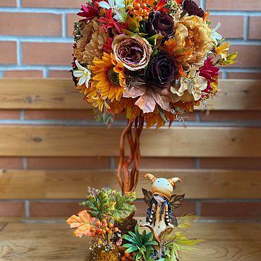 Цветы и флористика ручной работы. Ярмарка Мастеров - ручная работа Интерьерное дерево Осенняя фантазия. Handmade.