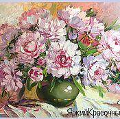 Картины ручной работы. Ярмарка Мастеров - ручная работа Нежные розовые Пионы в вазе. Handmade.
