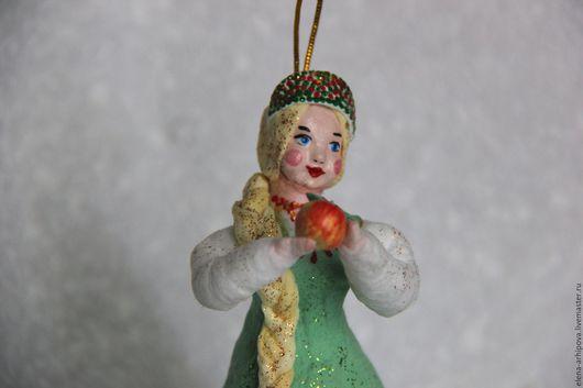 """Сказочные персонажи ручной работы. Ярмарка Мастеров - ручная работа. Купить Ёлочная игрушка из ваты  """"Царевна с яблочком"""". Handmade. Комбинированный"""
