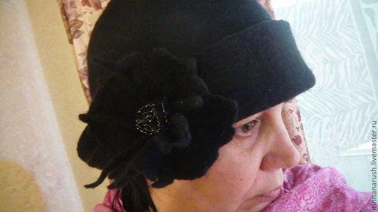 Шляпы ручной работы. Ярмарка Мастеров - ручная работа. Купить Валяная шляпка. Handmade. Черный, валяная шляпка