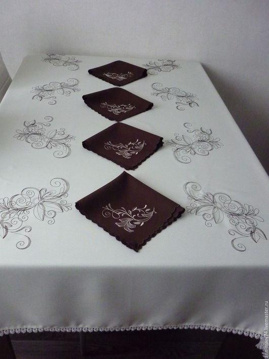 """Текстиль, ковры ручной работы. Ярмарка Мастеров - ручная работа. Купить Набор для сервировки стола """"Кофе со сливками"""". Handmade."""