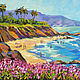 Painting with the sea 'Beach, California' oil on canvas. Pictures. Multicolor Gallery. My Livemaster. Фото №6
