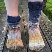 Работы для детей, handmade. Livemaster - original item Children`s knitted socks the Blue sky. Handmade.
