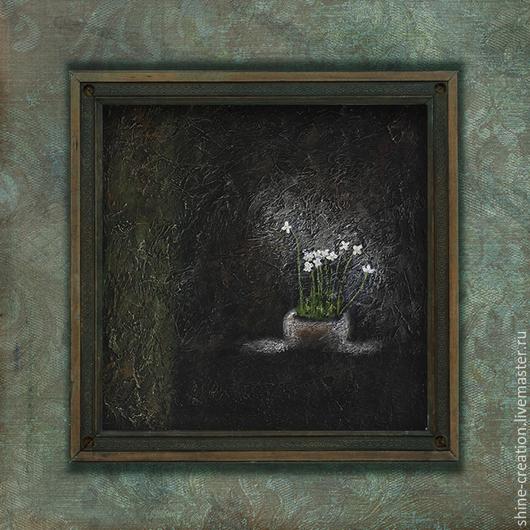 Абстракция ручной работы. Ярмарка Мастеров - ручная работа. Купить Звенит сверчок. Handmade. Темно-коричневый, оливковый, белый, винтаж