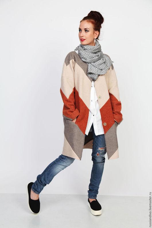 Верхняя одежда ручной работы. Ярмарка Мастеров - ручная работа. Купить Кардиган-пальто Muton. Handmade. Комбинированный, верхняя одежда