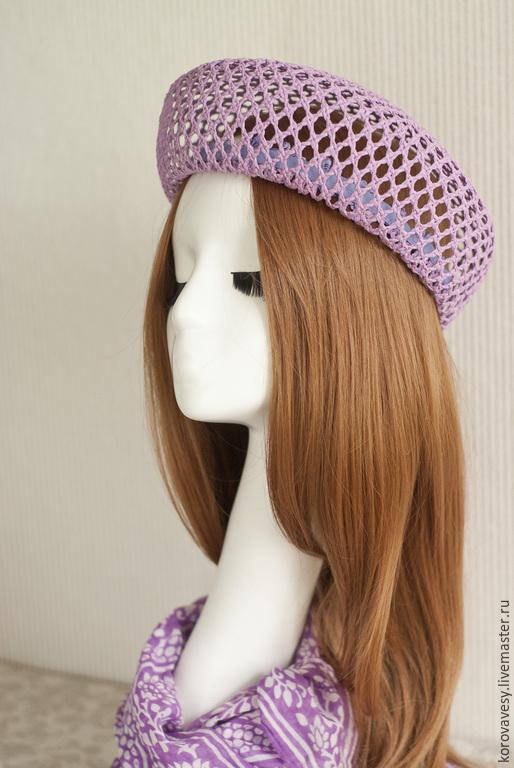"""Шляпы ручной работы. Ярмарка Мастеров - ручная работа. Купить """"Душистая сирень"""". Handmade. Сиреневый, женская шляпка, ажурное плетение"""
