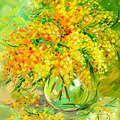 Картины и панно handmade. Livemaster - original item Oil painting on canvas. Sunny Mimosa.. Handmade.