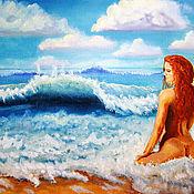 """Картины и панно ручной работы. Ярмарка Мастеров - ручная работа Авторская картина маслом """"Слушая голос моря"""". Handmade."""