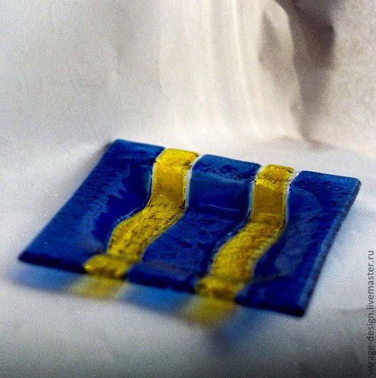 """Пепельницы ручной работы. Ярмарка Мастеров - ручная работа. Купить пепельница """"Синий+желтый"""". Handmade. Стекло, стеклянная посуда"""