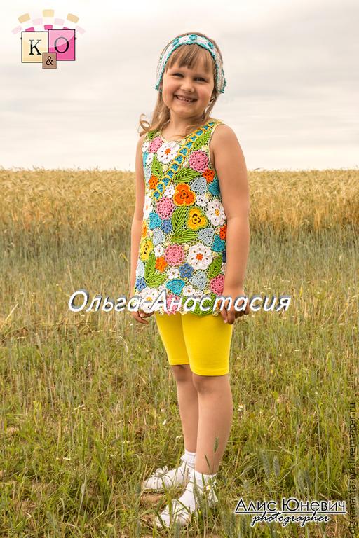 """Одежда для девочек, ручной работы. Ярмарка Мастеров - ручная работа. Купить Туника маленькой красавице """"Лето"""". Handmade. Разноцветный, хлопок"""