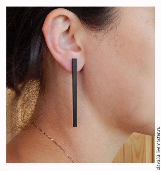 Серьги ручной работы. Ярмарка Мастеров - ручная работа. Купить Длинные серьги из черного дерева.. Handmade. Черный, wooden earrings