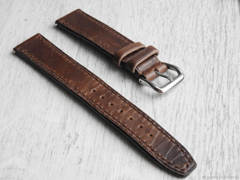 Ремешок для часов из кожи 20мм коричневый, Часы, Москва, Фото №1