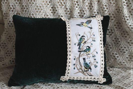"""Текстиль, ковры ручной работы. Ярмарка Мастеров - ручная работа. Купить Винтажная подушка  """"Птички - синички"""". Handmade. Тёмно-зелёный"""