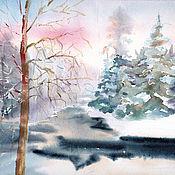 Картины и панно handmade. Livemaster - original item Painting watercolor. Winter river in the forest.. Handmade.