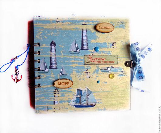 """Фотоальбомы ручной работы. Ярмарка Мастеров - ручная работа. Купить Альбом """"Морские приключения"""". Handmade. Голубой, альбомы, вырубка из бумаги"""