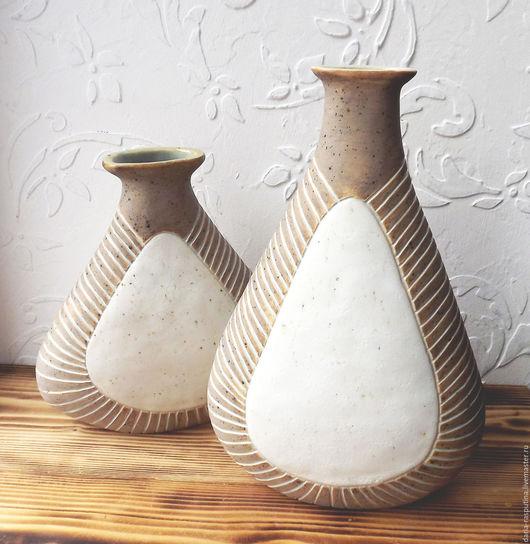 Вазы ручной работы. Ярмарка Мастеров - ручная работа. Купить Комплект керамических ваз. Handmade. Коричневый, ваза декоративная